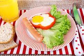 image of scrambled eggs  - Scrambled eggs with sausage - JPG