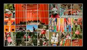 stock photo of inari  - Collection of Fushimi Inari Taisha Shrine scenics in TV wall - JPG