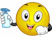 stock photo of trigger sprayer bottle  - Illustration of a Smiley Holding a Spray Bottle - JPG