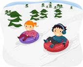 stock photo of snow-slide  - Illustration Featuring Kids Riding Snow Tubes - JPG