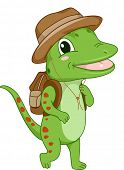 picture of safari hat  - Illustration of a Gecko Wearing a Safari Hat and Bag - JPG