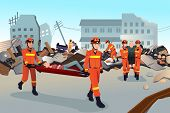stock photo of team building  - A vector illustration of rescue teams searching through the destroyed buildings during the earthquake - JPG