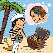 picture of gondolier  - Love in Venice vector illustration with a young gondolier standing holding a telescope looking at a treasure chest filled with gold coins dreaming of his sweetheart  - JPG