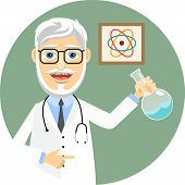 foto of biomedical  - Elderly doctor or pharmacist wearing a lab coat and stethoscope and brandishing a flask with a chemical solution doing chemical experiments and biomedical research  vector illustration - JPG