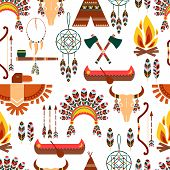 stock photo of wigwams  - Set of Seamless Pattern American Tribal Native Symbols Used in Different Graphic Designs - JPG