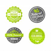 stock photo of environmentally friendly  - Organic  natural and eco food icons set with round labels in grey  white and green with text  - JPG