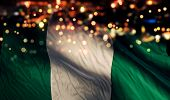 pic of nigeria  - Nigeria National Flag Light Night Bokeh Abstract Background - JPG