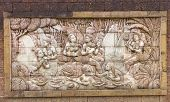picture of kama  - Stone carved women shower in lotus pond in thai temple - JPG