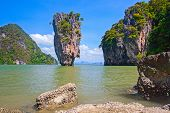 picture of james bond island  - View of the James Bond Island Thailand tropical landscape.