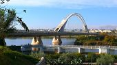 foto of calatrava  - Panoramic view of the Lusitania bridge in Merida  - JPG