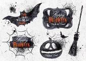 stock photo of spiderwebs  - Halloween set - JPG