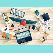 picture of blue things  - Workplace concept - JPG