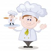 stock photo of  midget elves  - Cartoon cook chef holding a tray with a little chef with pizza isolated on white background - JPG