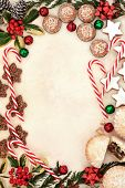 foto of candy cane border  - Christmas gingerbread biscuits - JPG