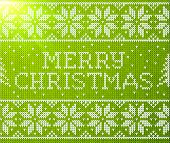 pic of merry chrismas  - Green vector knitted seamless pattern with sign Merry Christmas - JPG