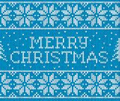 foto of merry chrismas  - Blue vector knitted seamless pattern with sign Merry Christmas - JPG