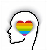stock photo of gay symbol  - Head Contour With Heart Gay Flag  - JPG