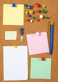 image of bulletin board  - Blank memo notes pinned on cork notice board - JPG