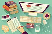 picture of workstation  - Flat design objects - JPG