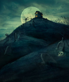 picture of scary haunted  - Halloween design background with  graveyard naked trees graves and haunted house - JPG