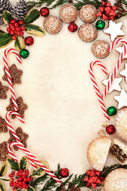 stock photo of candy cane border  - Christmas gingerbread biscuits - JPG