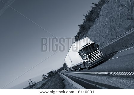 truck on highway straight