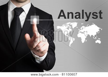 Businessman Pushing Button Analyst International