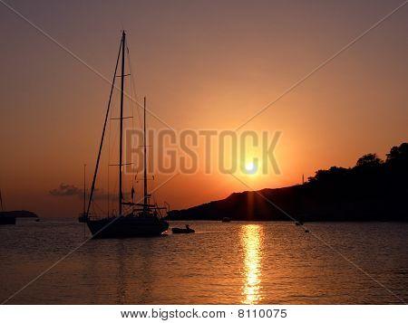 sailboat in sunset at Ibiza coast