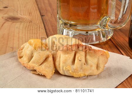 Bar Snack, Stuffed Wontons And Beer