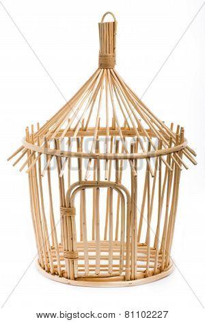 Light Wooden Bird Cage On White Background