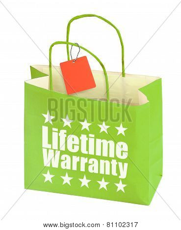Paper Bag With Lifetime Warranty Inscription