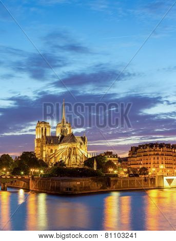 Panorama of Notre Dame Cathedral with Paris cityscape at dusk, France