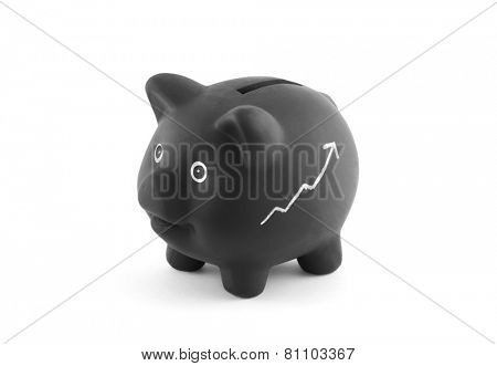 Black piggy bank with chalk graph. Clipping path included.
