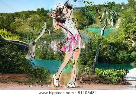 Young Beautiful Woman In Front Of Landscape. Mixed Media.