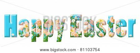 Happy Easter Floral Text