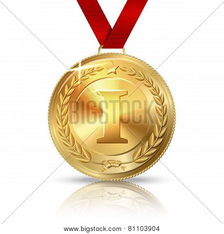 Vector Golden first place medal with red ribbon