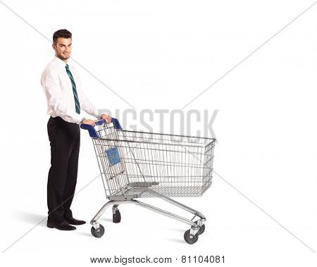 Businessman pushing a shopping cart on isolated background