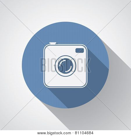 Old Photocamera Flat Icon With Long Shadow