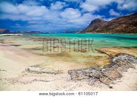 Beach At Balos Lagoon In Crete