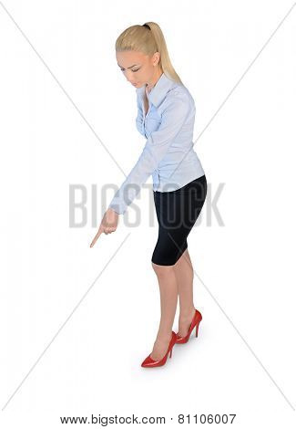 Isolated business woman pointing down