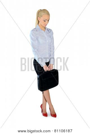 Isolated business woman sad looking down