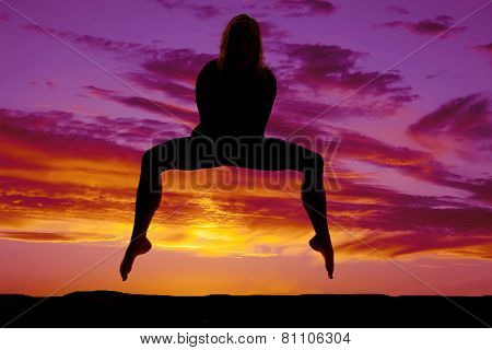 Silhouette Woman Hold Body With Hands Legs Down