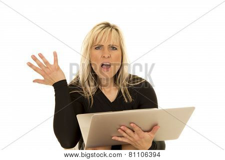 Woman Behind Laptop Hand Up Mouth Open
