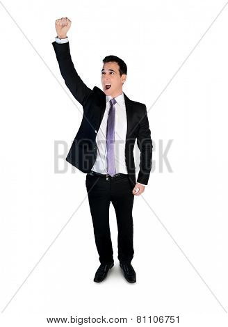 Isolated business man winner arm up