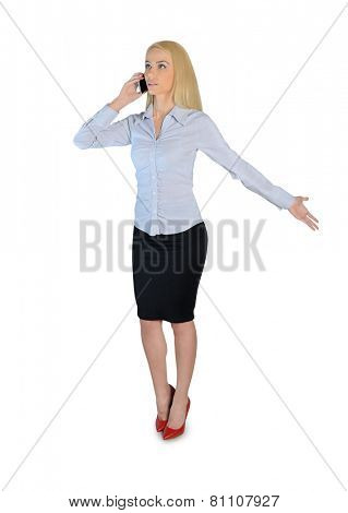 Isolated business woman talk on phone