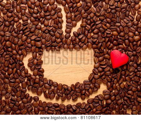 Coffee Beans Cup And Red Heart