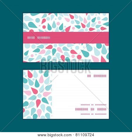 Vector abstract colorful drops horizontal stripe frame pattern business cards set
