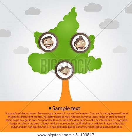 Family tree with cartoon family faces