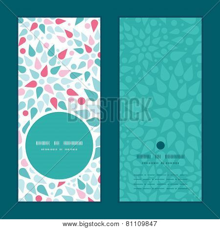 Vector abstract colorful drops vertical round frame pattern invitation greeting cards set