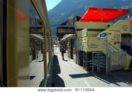 Platform On Railway Station In Grindelwald In Switzerland